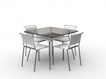 Glass table with cloth strapped chairs