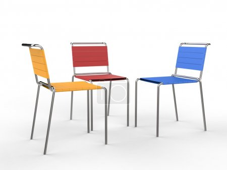 Three colorful chairs