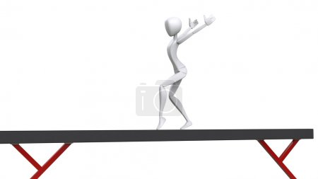 Photo pour Gymnastique artistique sur faisceau d'équilibre - Illustration 3D - image libre de droit
