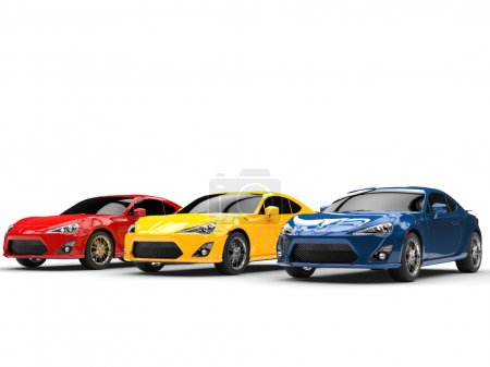 Generic cars - red, yellow and blue colors