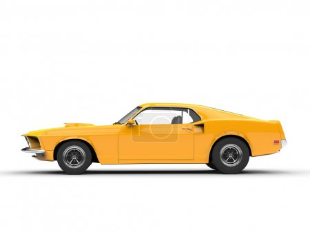 Awesome yellow muscle car - side view