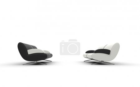 Photo for Black And White Sofas Side By Side - Royalty Free Image