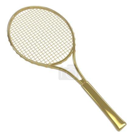Gold tennis racquet
