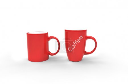 Red Coffee Mugs With Label