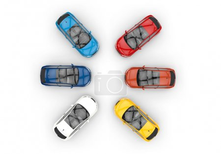 Cars In A Circle - Top View