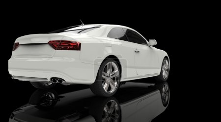 White Business Car - Back View