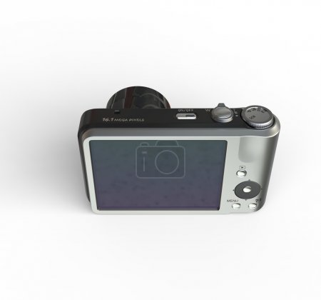 Small silver camera on white background - top back view