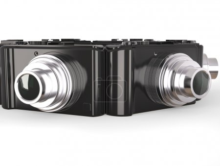 Photo for Black modern compact digital photo cameras with silver lens - Royalty Free Image