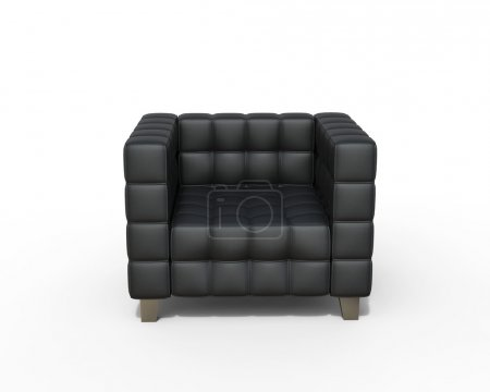 Black Leather Armchair on white background, front top view.