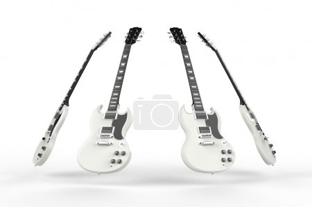 Photo for Four white electric guitars - Royalty Free Image