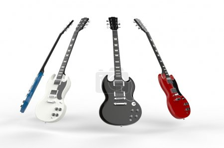 Photo for Four electric guitars all different colors. - Royalty Free Image