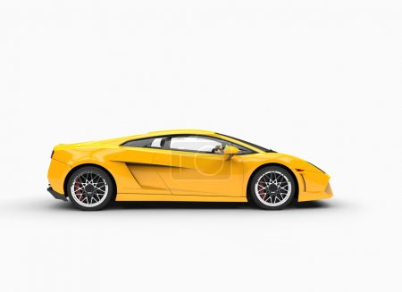 Yellow Supercar - Side View