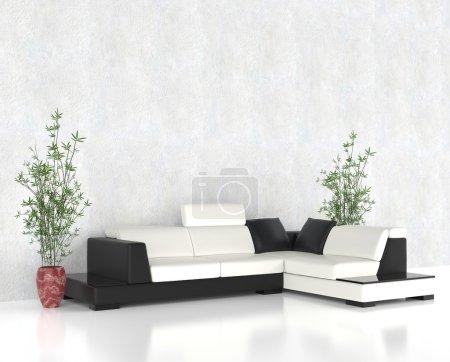 Photo pour Ensemble de meubles modernes salon lumineux - image libre de droit