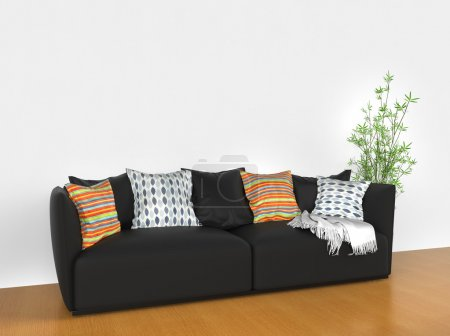 Photo for Modern sofa with colorful cushions - Royalty Free Image