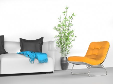 Photo for Bright modern stylish sofa and yellow armchair - Royalty Free Image