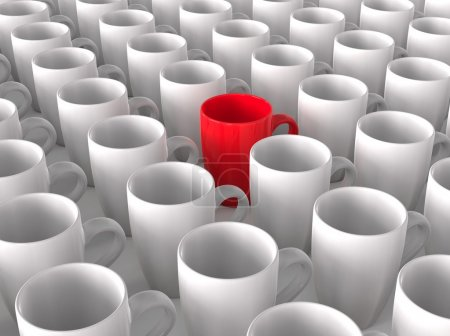 Red coffee mug in crowd of white mugs