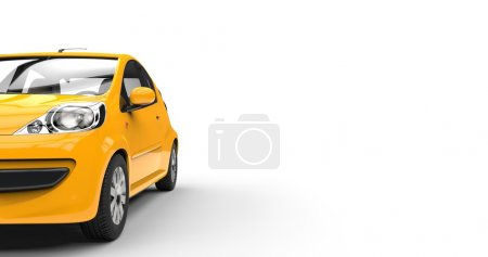 Compact yellow car - front view cut shot