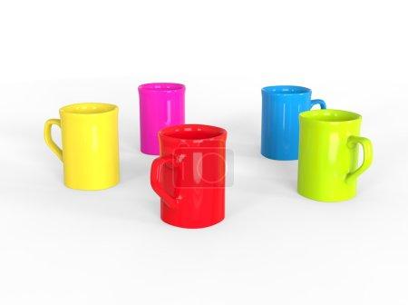 Circle of colorful mugs
