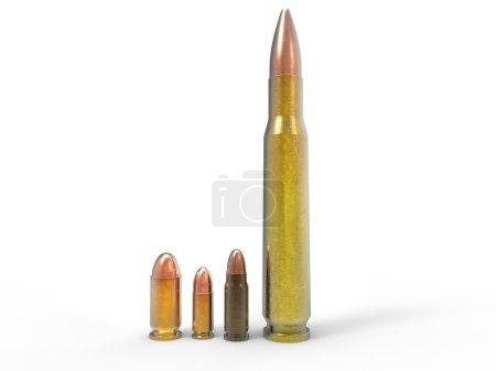 Various ammo isolated on white background