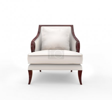 White armchair with wood armrests - front view...