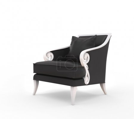 Black armchair with white armrests...