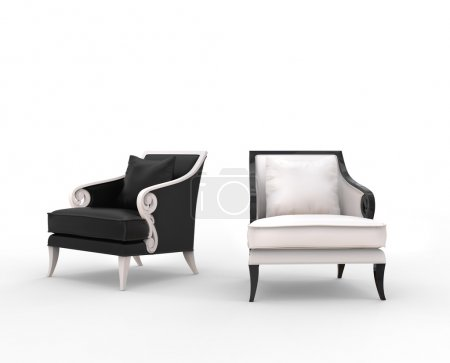 White and black armchairs with black and white woo...