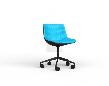 Bright blue modern office chair on white background.