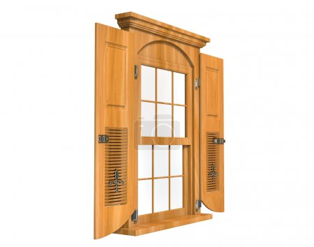 Wooden window with doors