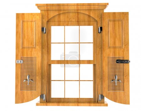 Bright wooden window with shutters