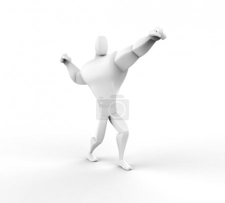 3D Athlete Power Posing - isolated on white background.