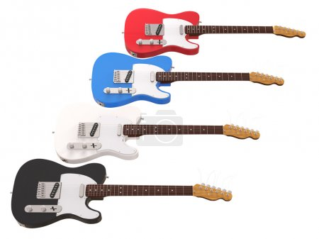 Cool electric guitars isolated on white