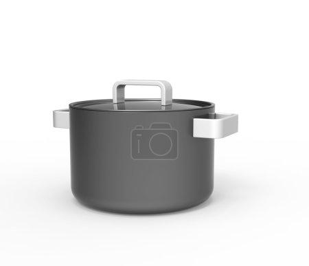 Big black soup pot with white handles