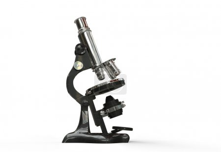 Vintage Microscope isolated on white background.