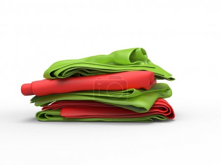 Stack of green and red sheets