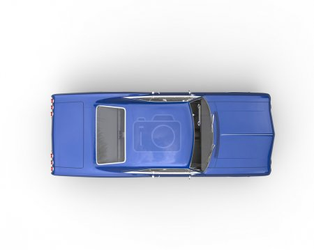 Blue muscle car - top view
