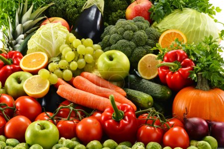 Photo for Composition with assorted raw organic vegetables - Royalty Free Image