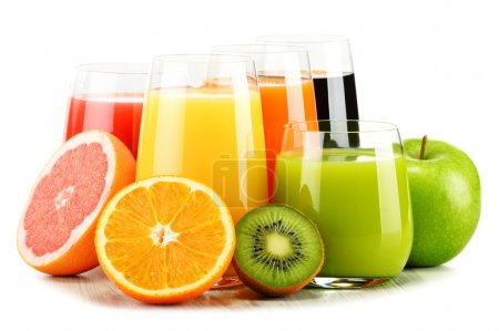 Photo for Composition with glasses of assorted fruit juices isolated on white. Detox diet - Royalty Free Image