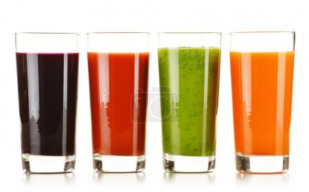 Photo for Glasses with fresh vegetable juices isolated on white. Detox diet. - Royalty Free Image