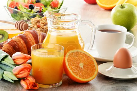 Photo for Breakfast with coffee, juice, croissant, salad, muesli and egg. Swedish buffet - Royalty Free Image