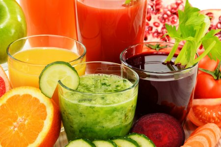 Photo for Glasses with fresh organic vegetable and fruit juices Detox diet. - Royalty Free Image