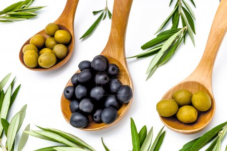 Olive leaves and olives in wooden spoons