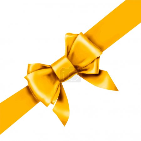 Illustration for Yellow bow ribbon gift - Royalty Free Image