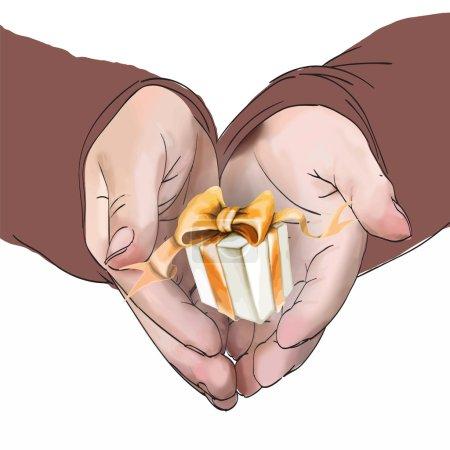 Photo pour Mains tenir un vecteur cadeau - image libre de droit