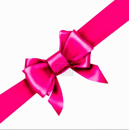 Illustration for Pink bow ribbon gift vector - Royalty Free Image