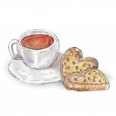 cup of tea with cookies watercolor illustration