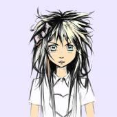 Japanese Manga style girl vector