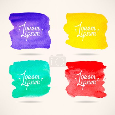 Illustration for Set of four colorful watercolor square backgrounds - Royalty Free Image