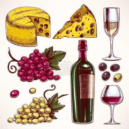 Illustration pour Ensemble avec une bouteille et des verres de vin, bouquet de raisins et de fromage - image libre de droit