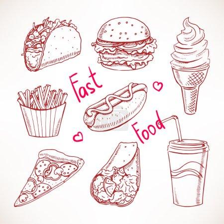 Illustration pour Ensemble avec divers fast-food. hot dog, hamburger, pizza. illustration dessinée à la main - image libre de droit