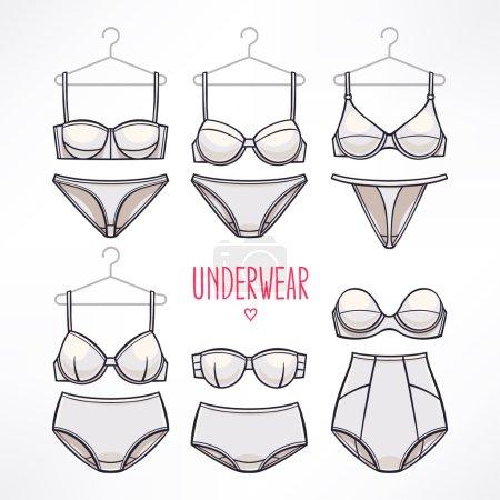 Illustration pour Ensemble avec différents styles de lingerie. culottes et soutiens-gorge. - image libre de droit